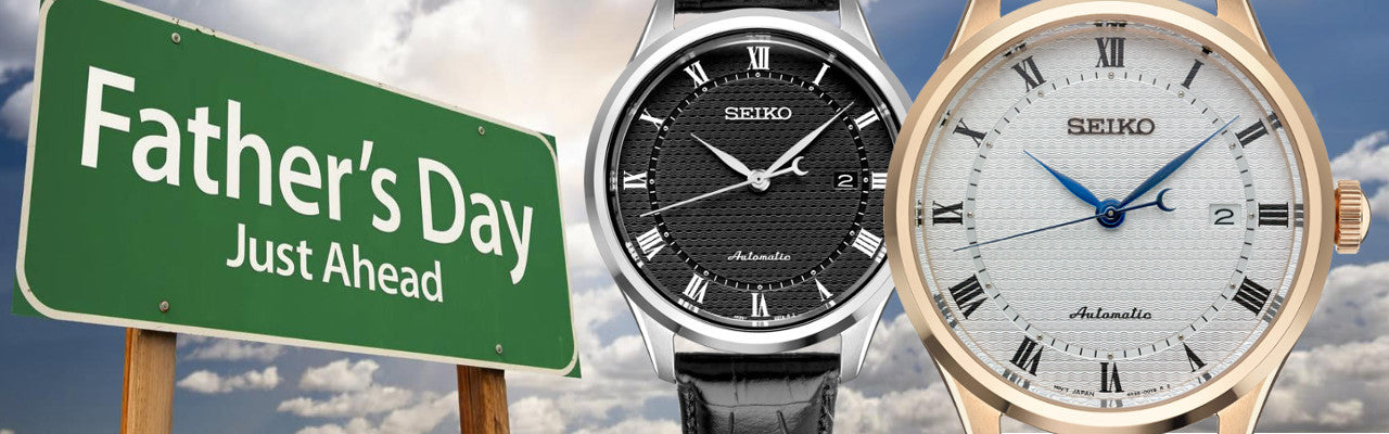 Seiko watch dials blk stainless steel case, white yellow case Fathers day Hwy road sign