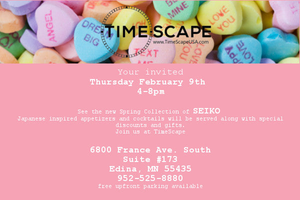 Timescape Seiko Spring Preview invite pink w candy hearts