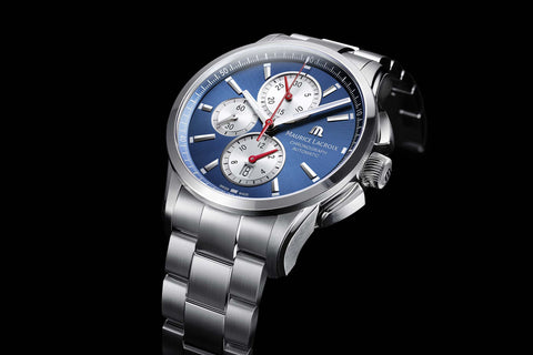 Maurice Lacroix Pontos Chronograph with blue dial stainless steel case and black leather strap
