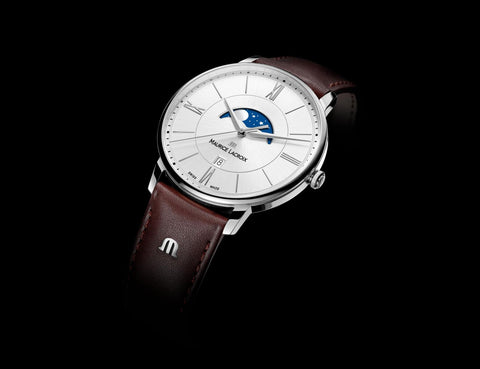 Maurice Lacroix Eliros Eternity Moonphase white dial brown band black background
