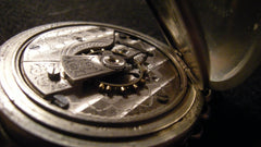 Close up of an old pocket watch timepiece