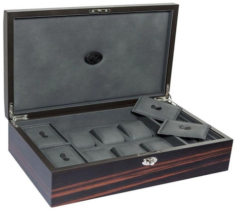 UNDERWOOD (LONDON) - 6-Unit Macassar Watch Box w Compartments | UN/243