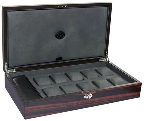 UNDERWOOD (LONDON) - 10-Unit Macassar Watch Box w Compartment | UN/244