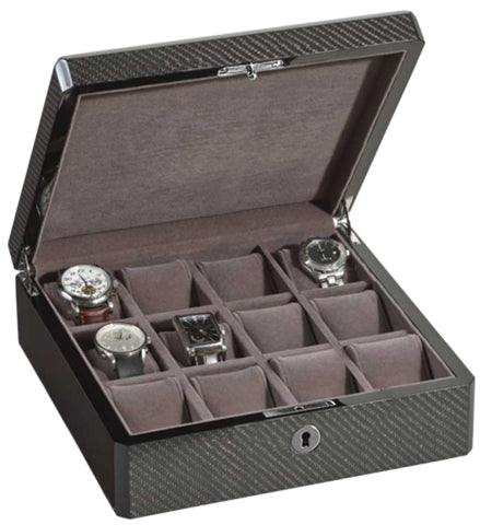 Venlo - 12 Watch Storage Case | Carbon Fiber
