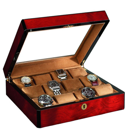 Venlo - 12 Watch Storage Case w Glass | Burlwood