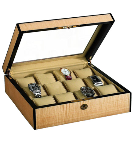 Venlo - 12 Watch Storage Case w Glass | Blonde