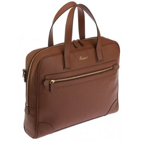 Rapport Berkeley Top-Zip Grain Leather Briefcase-Brown | D221