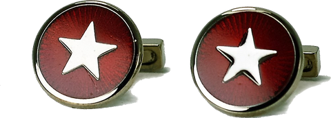 Codis Maya - Sterling Silver Cufflinks | Red w/ Silver Star