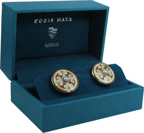 Codis Maya - Sterling Silver Cufflinks | Orange Pearl