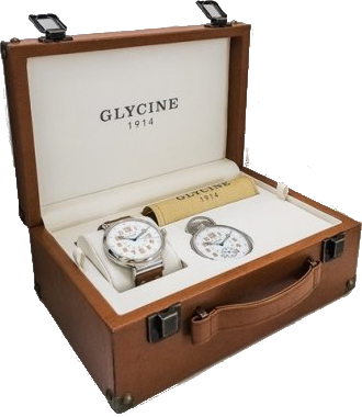 Glycine - F 104 automatic 48mm - Special 100th Anniversary Set | Ref. 3932.146AT.LB7R & 3828.146AT
