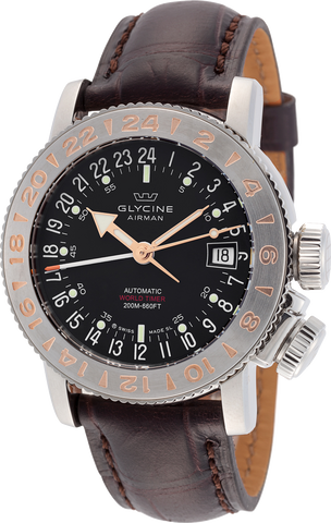 Glycine - Airman 18 World Timer Automatic | Ref. 3918.196 LBK7D