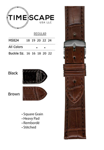 Hadley Roma - Alligator Watch Band - MS824