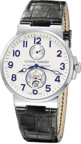 Ulysse Nardin stainless steel Maxi Marine Chronometer, 41mm, matte silver dial, C.O.S.C. Certified Chronometer