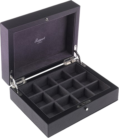 Rapport - 12 Cufflink Box - Black Leather | D110