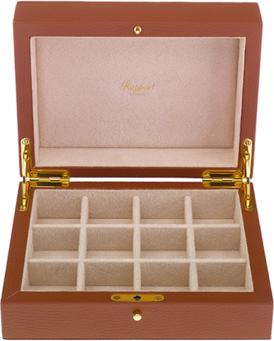 Rapport - Cufflink Box - Brown Leather | D111