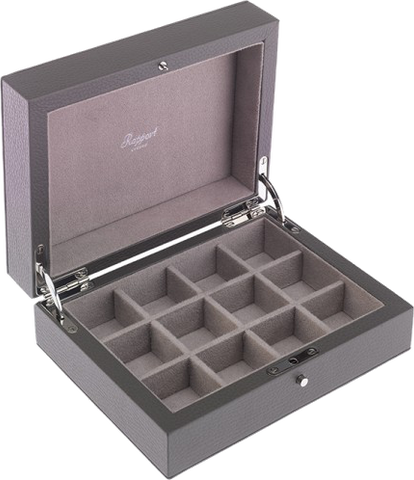 Rapport - 12 Cufflink Box - Grey Leather | D112