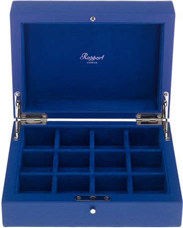 Rapport - 12 Cufflink Box - Blue Leather | D113