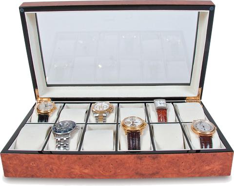 Rapport - 12 Watch Box - Walnut Burr | B243