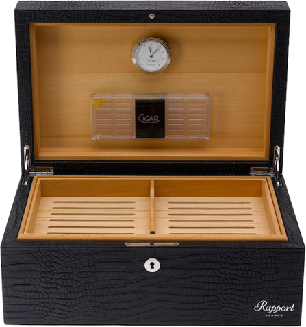 Rapport - Portman Cigar Humidor - Black Crocodile Leather | D030