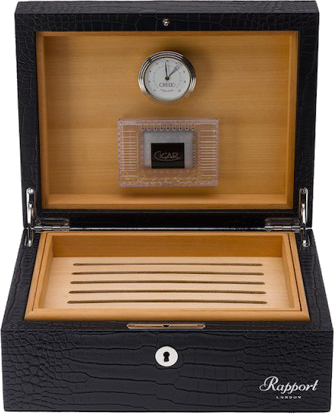 Rapport - Portman Cigar Humidor - Black Crocodile Leather | D010