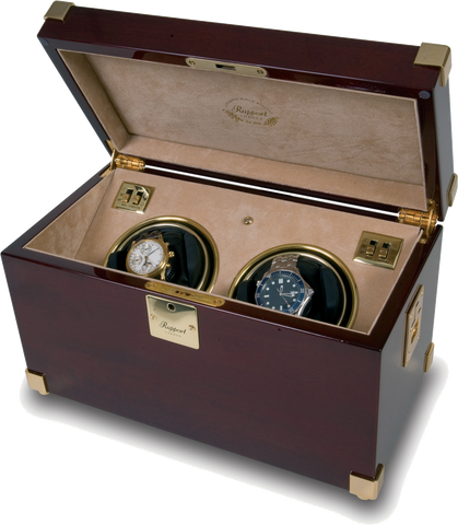 Mahogany with Brass Double Rapport Watch Winder