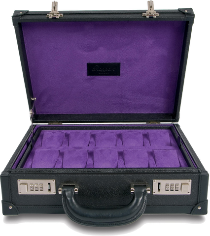Rapport - Portman 10 Watch Attache` Case - Black Leather | L266