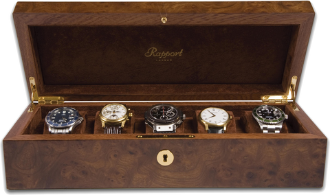 Rapport - Portman 5 Watch Box - Walnut Burr | L274