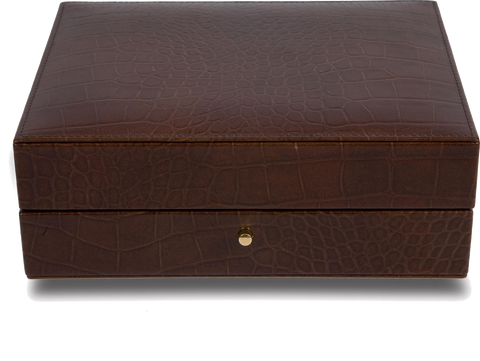 Rapport - Portman Cufflink Box - Brown Crocodile Leather | L261