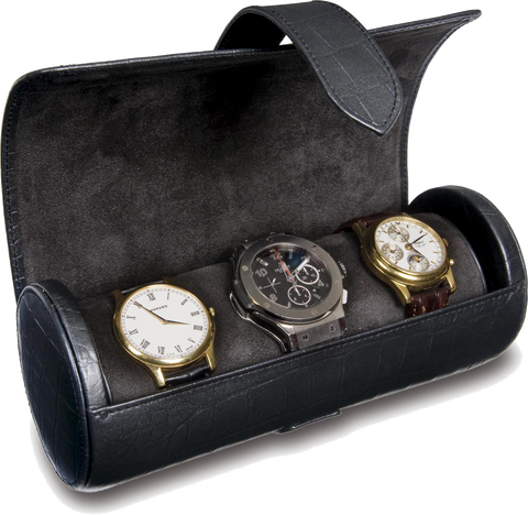 Rapport - Portman Triple Watch Roll - Black Crocodile Leather | L108