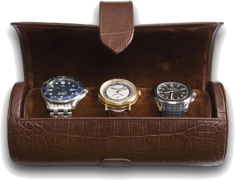 Rapport - Portman Triple Watch Roll - Brown Crocodile Leather | L109