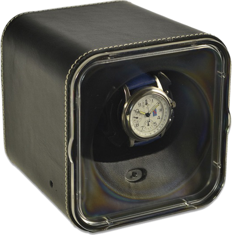Black Leather Scatola del Tempo Watch Winder