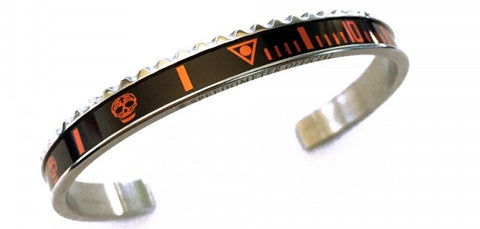 Speedometer Official - Steel Skull Bangle | Black w Orange