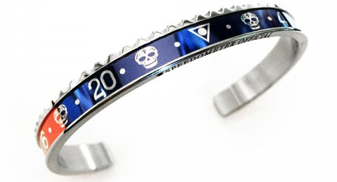 Speedometer Official - Steel Skull Bangle | Blue & Red