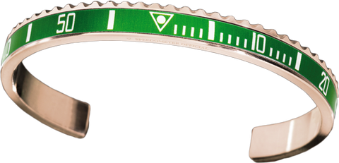 Speedometer Official - Bangle - Pink Gold w Green | SO-BNG-PGD-GREE-00