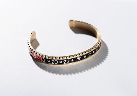 Speedometer Official - Bangle - Pink Gold w Red & Black Diamonds | SO-BNG-PGD-RDBK-10
