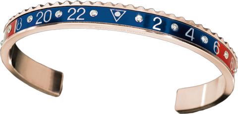 Speedometer Official -Bangle - Pink Gold w Red & Blue Diamonds | SO-BNG-PGD-RDBE-10