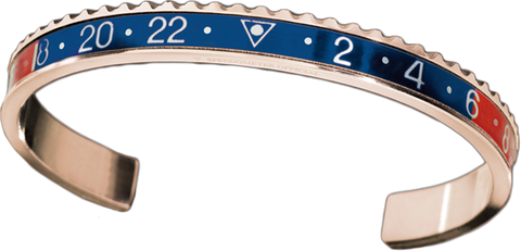 Speedometer Official -Bangle - Pink Gold w Red & Blue | SO-BNG-PGD-RDBE-00