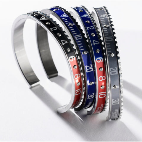 Speedometer Official - Bangle - Steel Red & Blue w Diamonds | SO-BNG-STL-RDBE-10