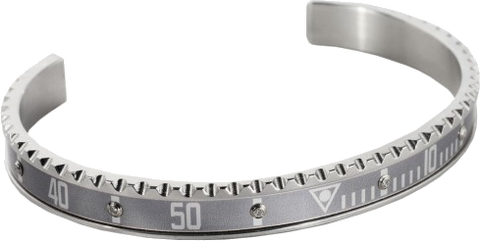 Speedometer Official - Steel Bangle w Diamonds |  Grey