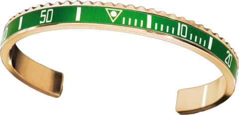 Speedometer Official - Bangle - Yellow Gold w Green | SO-BNG-YGD-GREE-00