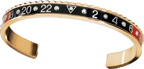 Speedometer Official - Yellow Gold Bangle w Diamonds | Red & Black