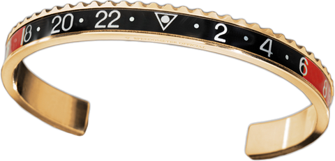 Speedometer Official - Bangle - Yellow Gold w Red & Black | SO-BNG-YGD-RDBK-00