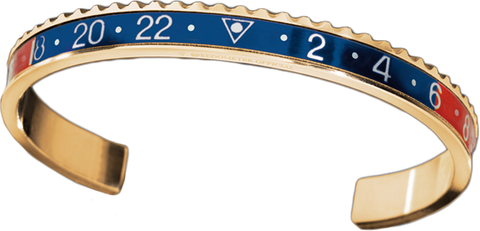 Speedometer Official - Yellow Gold Bangle | Red & Blue