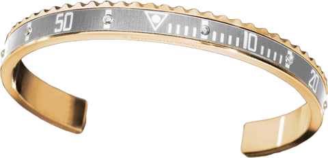 Speedometer Official - Yellow Gold Bangle w Diamonds | Grey