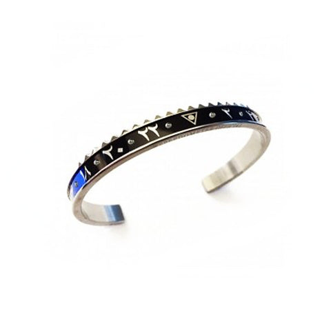 Speedometer Official - Steel Dual Time Arabic Bangle w Diamonds | Black & Blue