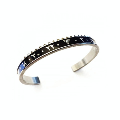 Speedometer Official - Steel Dual Time Arabic Bangle w Diamond | Black & Blue