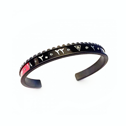 Speedometer Official - DLC Dual Time Arabic Bangle w Diamonds | Black & Red