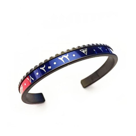 Speedometer Official - DLC Dual Time Arabic Bangle w Diamond | Red & Blue
