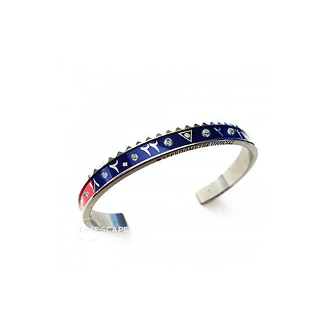 Speedometer Official - Steel Dual Time Arabic Bangle w Diamonds | Red & Blue