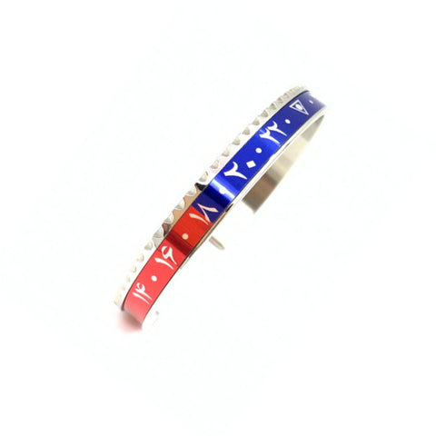 Speedometer Official - Steel Dual Time Arabic Bangle | Red & Blue